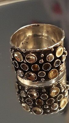 Stunning Artisan Handmade Sterling Silver and 9k Gold Ring size L1/2