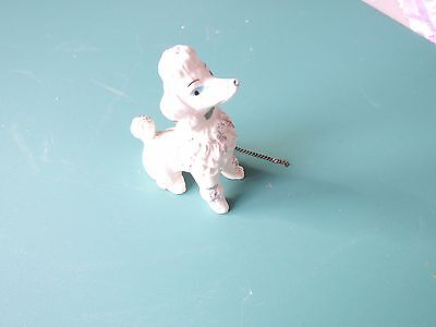 "VTG Poodle Figurine 3 1/2"" with gold trim and a chain"