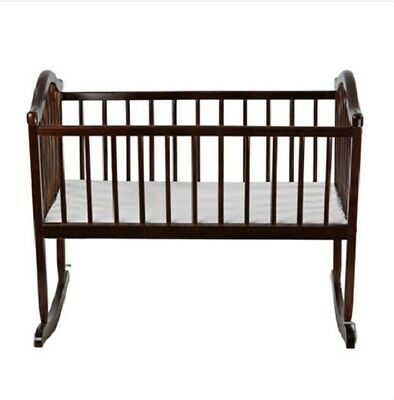 Wooden Baby Cradle High-Quality Convenient Brown Finish Contemporary Style New