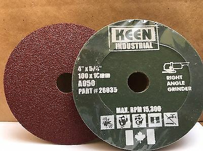 "Case of 100, #26032, 50 Grit 4"" x 5/8"" KEEN Resin Fibre Sanding Discs"