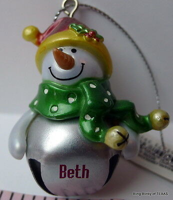 BETH Jingle Bell Ganz Snowman Personalized Name Ornament