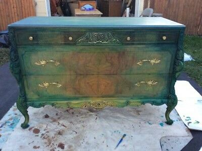 Baroque Buffet/Dresser Hand Carved Green/blue Hand Carved