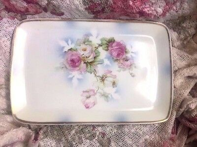 THREE CROWN CHINA c.1906  Hand Painted Roses Porcelain Serving Tray  12""
