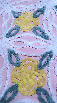 Pc. Vintage Chenille Bedspread Fabric Plush Yellow Flowers On Pink W Green Leave