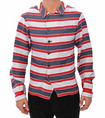 Dolce & Gabbana Blue Red Striped Runway Casual Linen Shirt Camicia Uomo Tg. M