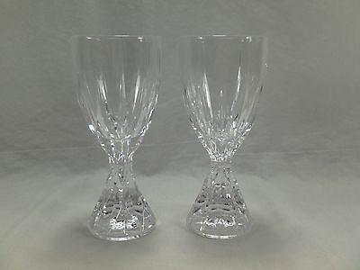 2 Crystal Water Goblet Wine Glass Chalice Clear Vertical Cut Bowl Cone Stem