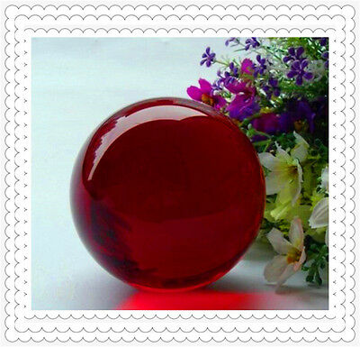 Asian Rare glass  Red  Magic Crystal Healing Ball Sphere 40mm+Stand