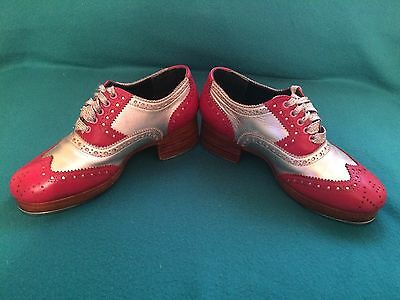 Miller and Ben tap shoes. Pink and Silver, size 35 1/2. Very Good Condition!