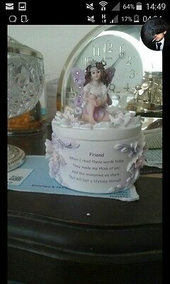 porcelain tinkle box with fairy on the lid.for friend