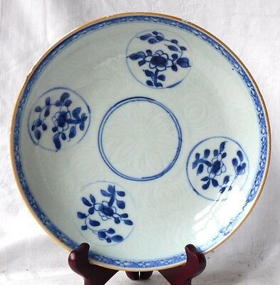 C19Th Chinese Blue And White Dish With A Moulded Pattern Within A Border