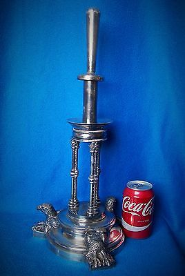 "ANTIQUE SILVER PLATED CENTREPIECE EPERGNE EAGLES CORINTHIAN COLUMNS 18"" c1880"