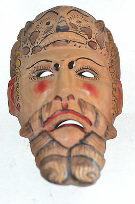 Colorful 1 Of A Kind Painted Conquestador Mask = Hand Carved=Folk Art