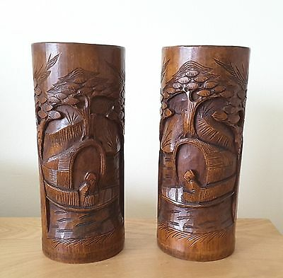 PAIR OF CARVED CHINESE BAMBOO BRUSH POTS with an immortal in a boat desgin 19thC