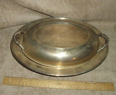silverplate vegetable dish covered with glass liner