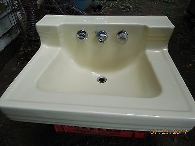 Vintage Yellow Porcelain Ceramic Bathroom Sink Old Standard Plumbing