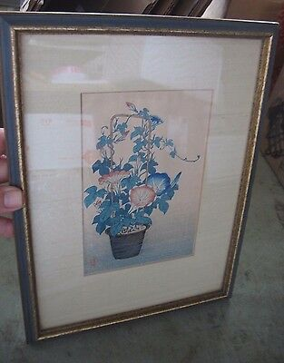 old Estate artist signed / marks Japanese WOODBLOCK PRINT plant flowers floral