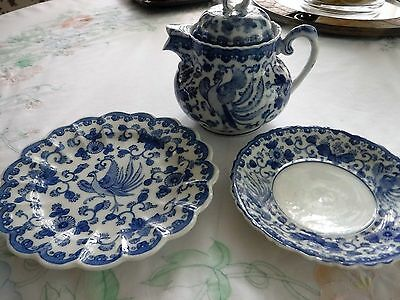 Antique Blue Peacock Design 3 Piece Teapot Set from China