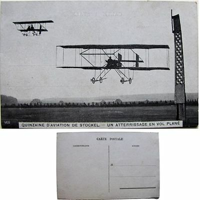 cpa Quinzaine aviation Stockel Woluwe-St-Pierre 1910 atterrissage en vol plané