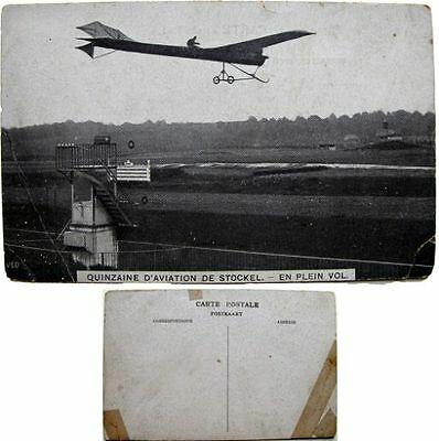 cpa Quinzaine aviation Stockel Woluwe-St-Pierre 1910 monoplan en plein vol