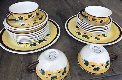 LOT Of 20 Piece Vernon Kilns Hand Painted Brown Eyed Susan Dishes