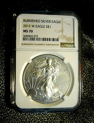 2012 W Burnished Silver Eagle Ms70 With Mintmark Ngc Gold / Brown Label