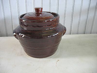 Vintage Marcrest Daisy Dot Oven Safe Stoneware Double Handled Bean Pot Jar 7""