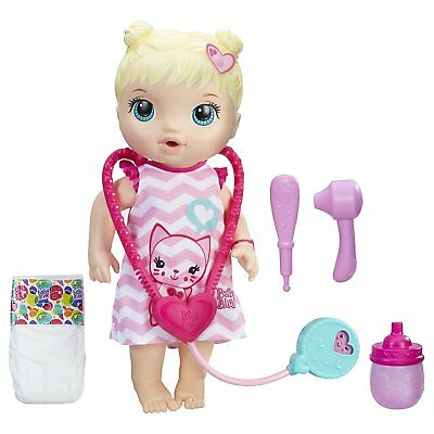 NEW Baby Alive Better Now Bailey Blonde Doll Dr Checkup Feed Bottle Pees Hasbro