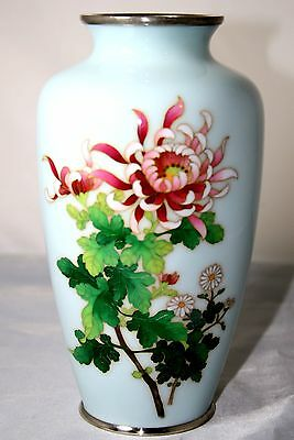 "Mid 20Th C Japanese Cloisonne ""ando""  Chrysanthemum Vase Perfect"