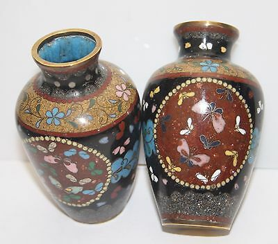 Late 19Th Century  Meiji Period Pair Of Japanese Cloisonne Miniature Vases