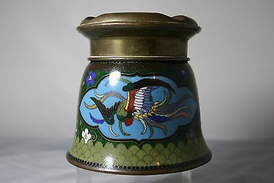 "Early 20Th C Japanese Cloisonne ""no Fume"" Ash Tray Pot"