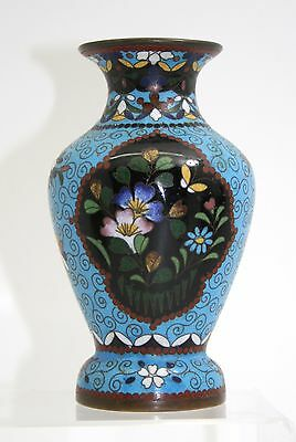 Japanese Cloisonne Pale Blue Ground Vase Stunning Quality Meiji Period