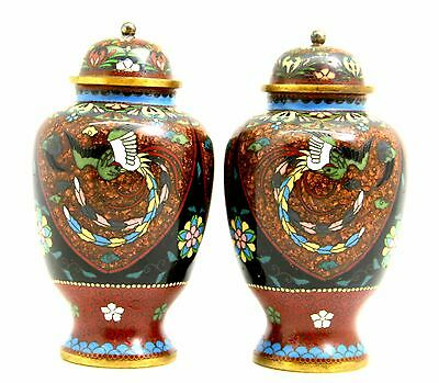 Late 19Th C Meiji Period Pair Of Japanese Cloisonne Tea Caddy Pots With Covers
