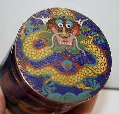 Late 19Th Century Chinese Cloisonne Lidded Dragon Blue Opium Jar