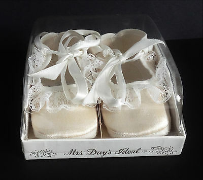 VINTAGE BABY Doll SHOES MRS DAYS IDEAL GIRLS LACE SZ 1 WHITE OLD STORE STOCK