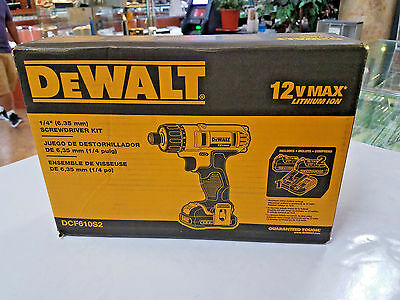 "NEW DeWALT DCF610S2 12V Li-Ion 1/4""  Cordless SCREWDRIVER KIT 87525-1 EB"