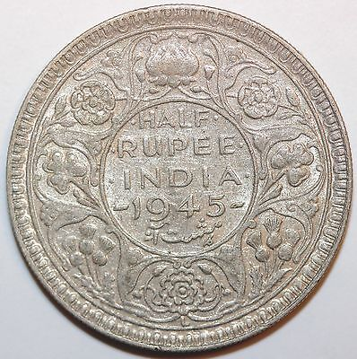 British India 1945 L 1/2 Rupee,   Circulated       #hru879