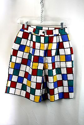 Colorblock Vintage 80s Shorts Size 8 Pleated Sharon Young Dallas