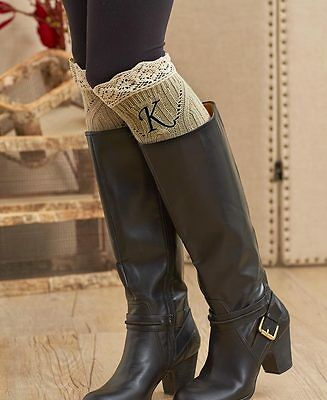 Women's Knit Monogram Boot Cuffs With Lace Trim Choose Your Initial Letter