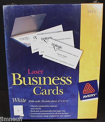 """Avery 5911 Laser Business Cards, White, 2"""" x 3 1/2"""", 2500/Pack NEW SEALED!"""