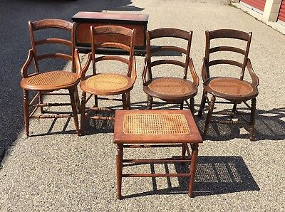 Set of Vintage Wooden Caned Bottom Chairs with Footstool Antique