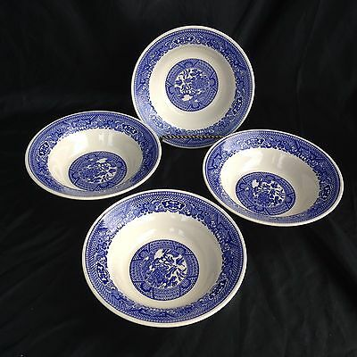 """Blue Willow Mint Condition 4 Coupe Soup Bowls 6 3/8""""  by Royal USA"""