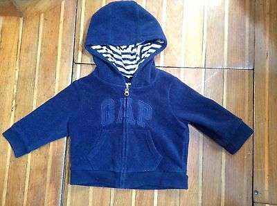 Baby Gap Hoodie Jumper Size 0 Age 6-12 Months Blue In Excellent Condition