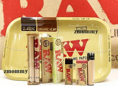 Authentic Raw Paper King Size Combo Tray+Papers+Tips+Rolling Machine+Lighter