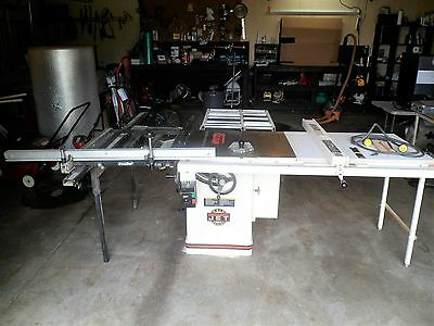 """JET 10"""" Tilting Arbor TableSaw, Outfeed Rollers, Sliding Table, Excalibur"""