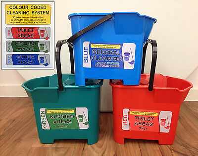 Colour Coded Cleaning Waterproof Stickers / Labels and A4 Sign for Mop Buckets