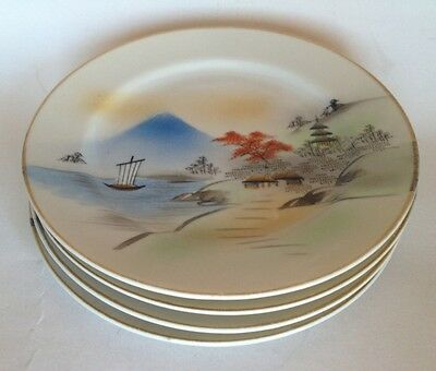 Antique Hand Painted Japanese Plates. Scene Of Hillside & Mt. Fuji. Makers Marks