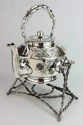 AESTHETIC MOVEMENT Victorian SILVER PLATED KETTLE 1898