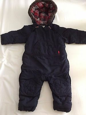 Ted Baker Boys Snowsuit/Pramsuit 9-12 months, Navy Blue, Tartan Lining, Fur trim