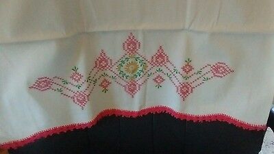 beautiful, Clean Vintage Embroidered crochet Pillowcase Set