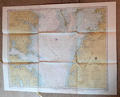 Vintage Navigational Chart #12225 Chesapeake Wolf Trap to Smith Point 1980 NOAA